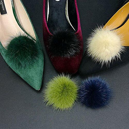 ZAKIA Women' Fluffy Mink Fur Pom Removable Shoe Clips Clutch Wedding Decoration Pack of 2 (Black) by ZAKIA (Image #6)