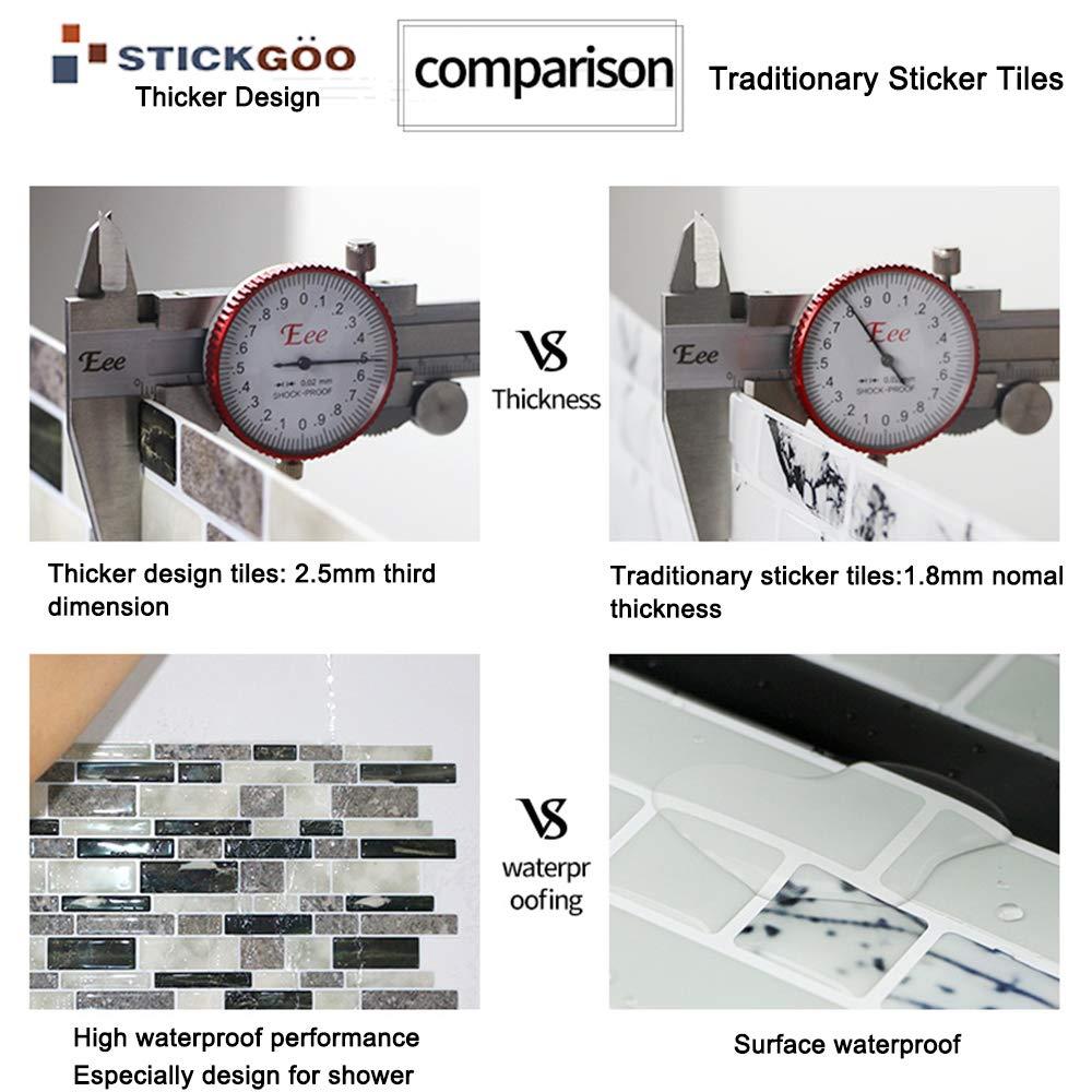Pack of 5, Thicker Design STICKGOO Marble Look Peel and Stick Backsplash Subway Tiles Stick on Wall Tile for Kitchen/&Shower Backsplash
