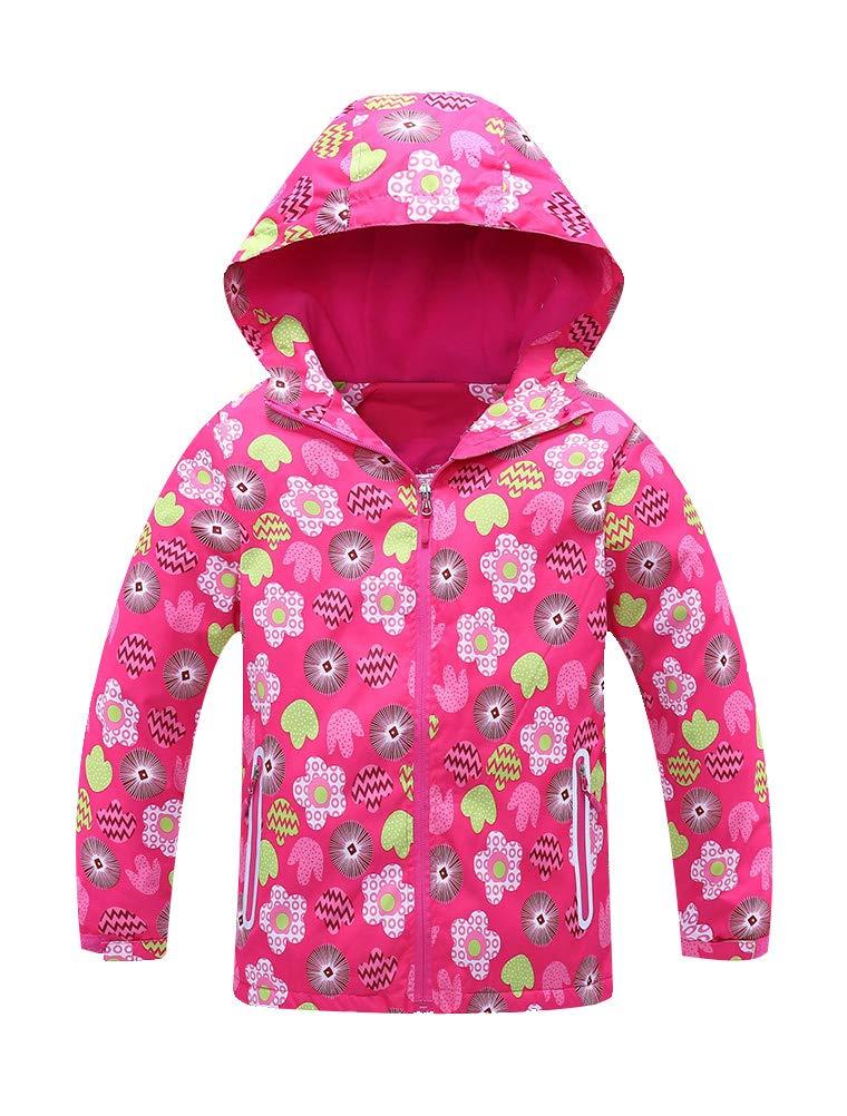 Mallimoda Girls'Hooded Jacket Fleece Liner Waterproof Outdoor Coat Outwear Red 7-8 Years by Mallimoda