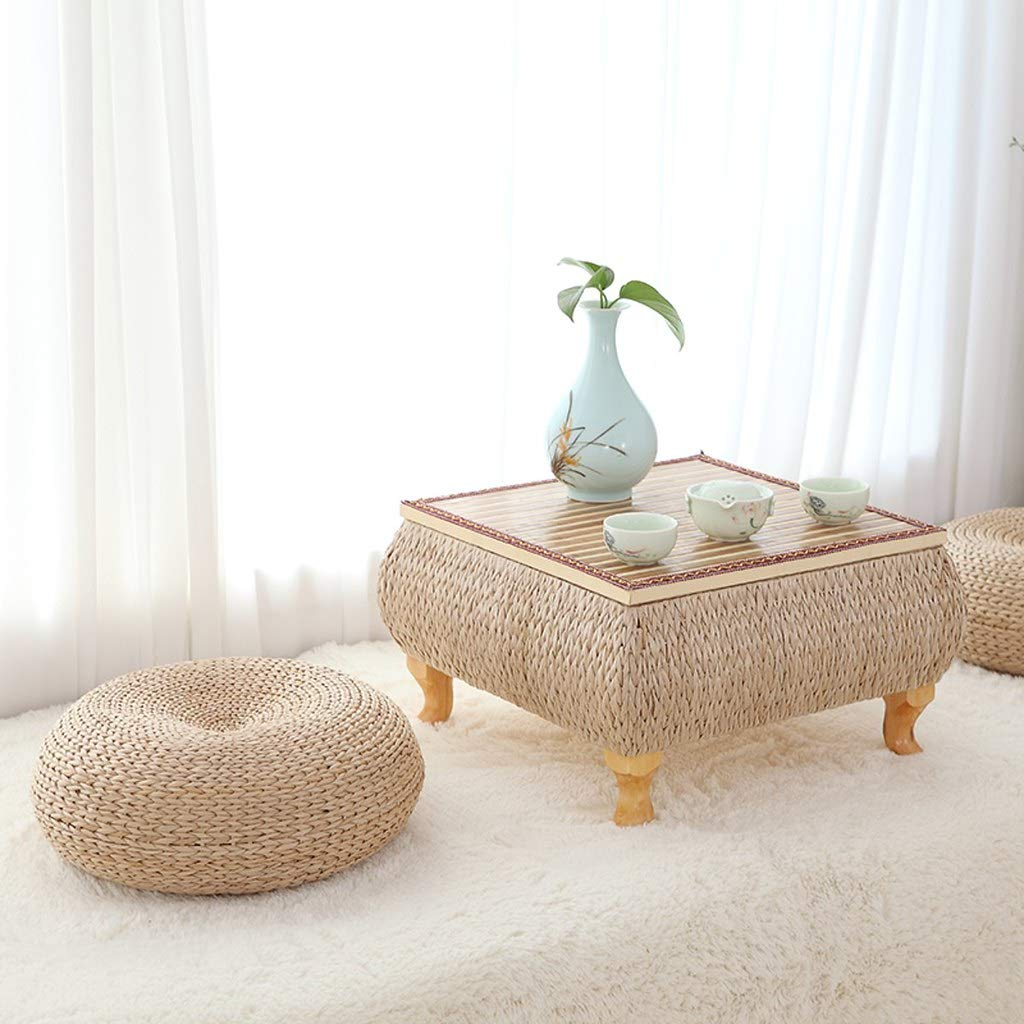 Floor Cushions Seating for Adults Japanese Style Handcrafted Knitted Straw Flat Seat Cushion Tatami Floor Handcratfed Wicker Mat Bay Window Cushion Thicken Straw Mat Pad by VnHome