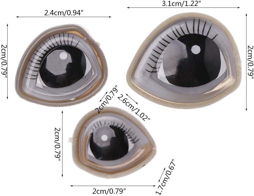A0127 1380 St/ück 3-8mm Teddyaugen Sicherheitsaugen Kunststoffaugen Puppe Augen DIY pl/üschtiere zubeh/ör