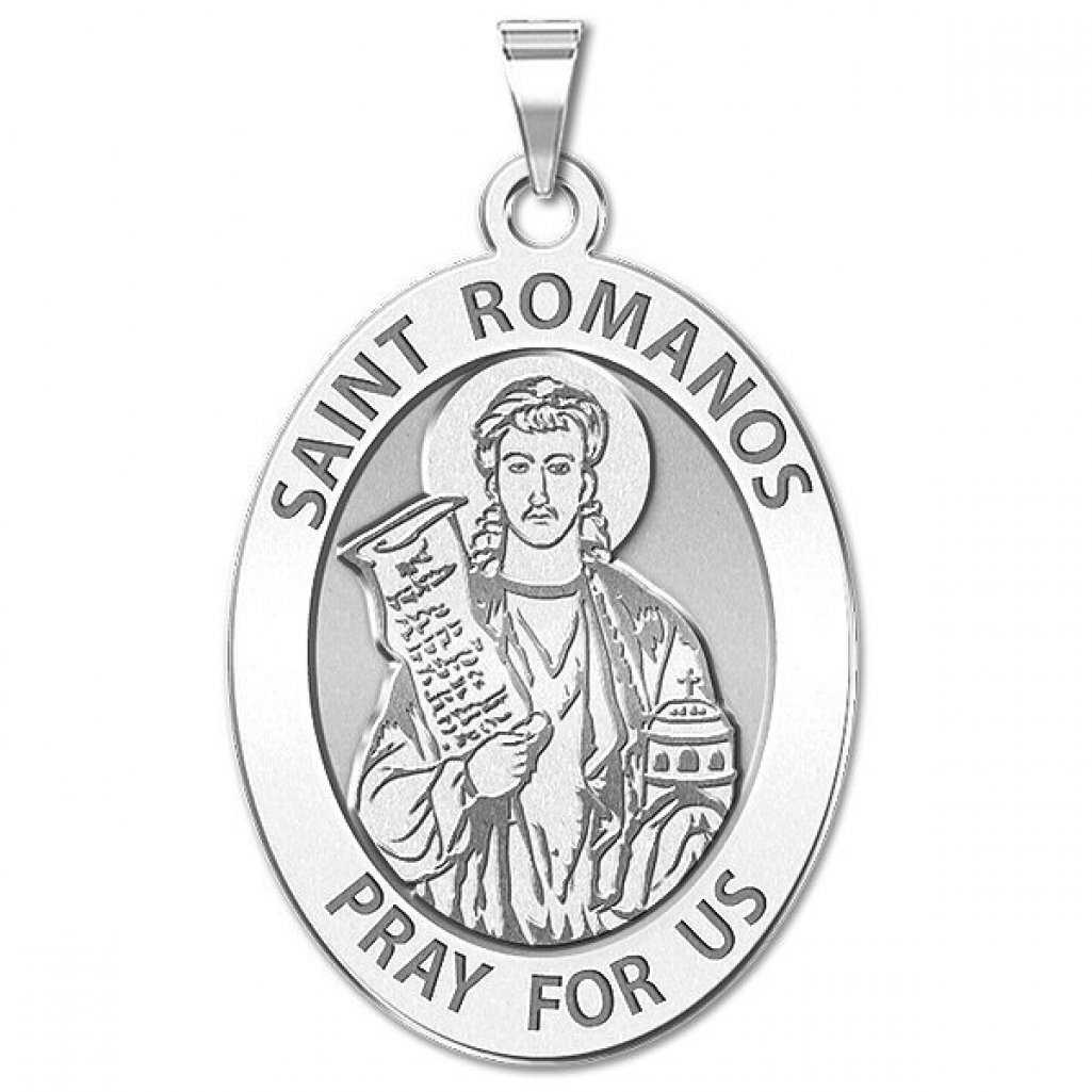 Available in Solid 14K Yellow or White Gold PicturesOnGold.com Saint Romanos Religious Medal Oval or Sterling Silver