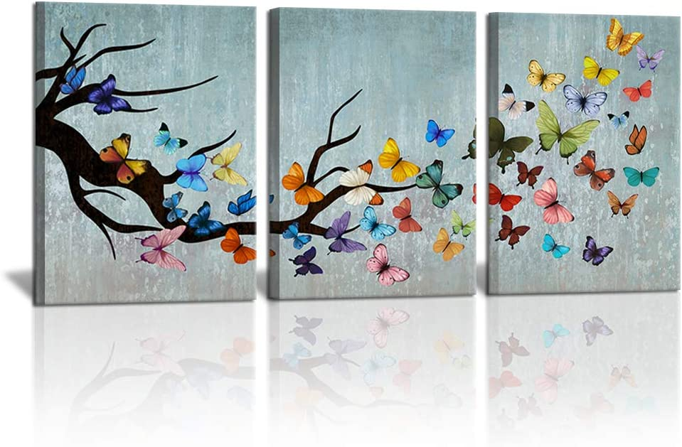 3 Piece Vintage Butterfly Canvas Wall Decor Prints Retro Inset Artwork Animal Picture for Girls Bedroom Bathroom Living Room Spa Nursery Home Wall Decor Ready to Hang 12