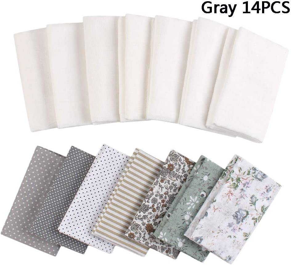 Linen 5PCS Zsedrut Floral Printed Gauze Craft Fabric 4PCS,19.7x19.7 Squares Quilting Sewing Material Cotton Reusable for Sewing DIY Crafts