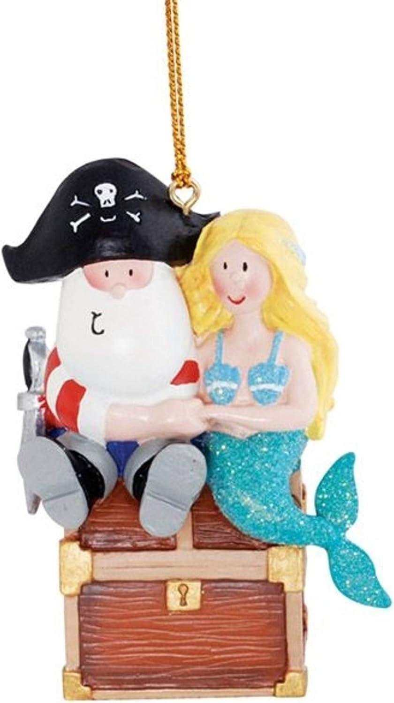 Santa Pirate and Mermaid Ornament, Nautical Christmas Collection, Coastal Beach Decor