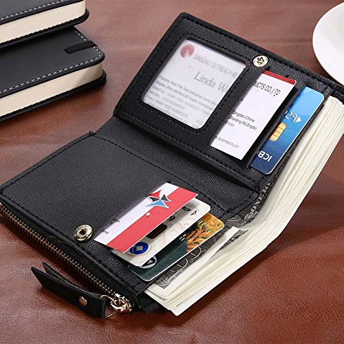 PU Holder Short Coin Black Flowers Embroid Wallets Everpert Mini Leather Women Clutch Card wAZXxnq