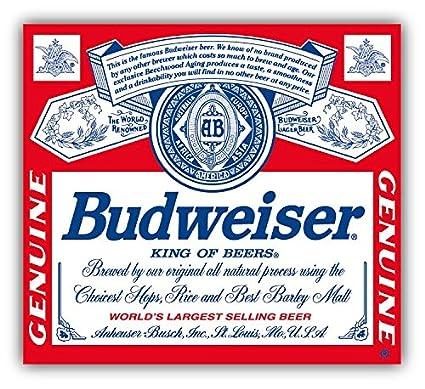 Budweiser Genuine Beer Logo Car Bumper Sticker Decal 13