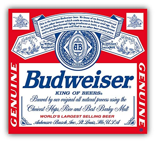Budweiser Genuine Beer Logo Car Bumper Sticker Decal 13