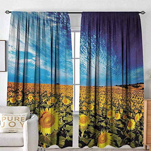 Blackout Thermal Insulated Window Curtain Valance Sunflower,Exposure Photo of Sunflower Garden Field with Skyline Summer Nature Image,Yellow and Blue,Rod Pocket Valances 72