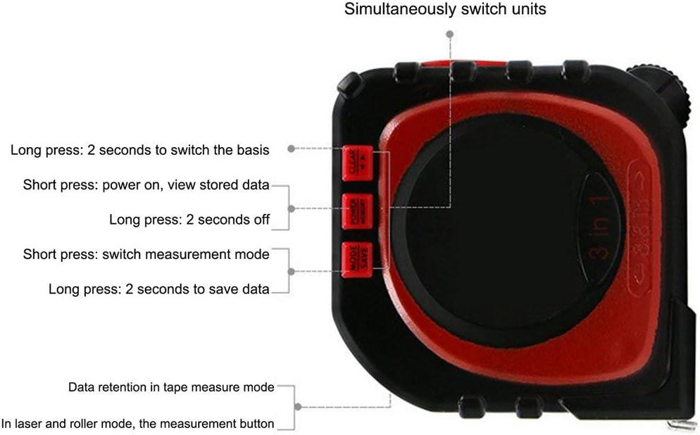 LouiseEvel215 Strumento di Misura Multifunzione Digitale a Nastro 3 in 1 Misuratore di Distanza Laser a infrarossi Strumento di misurazione Range Range