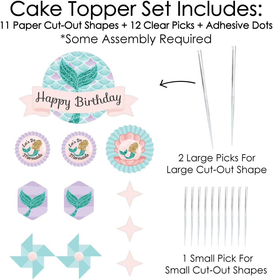 Birthday Party Favor Kids Stickers 256 Stickers Big Dot of Happiness Let/'s Be Mermaids 16 Sheets