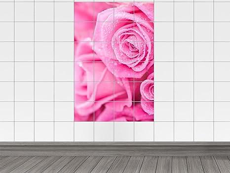 Piastrelle adesivo piastrelle immagine vicino rose in rosa con