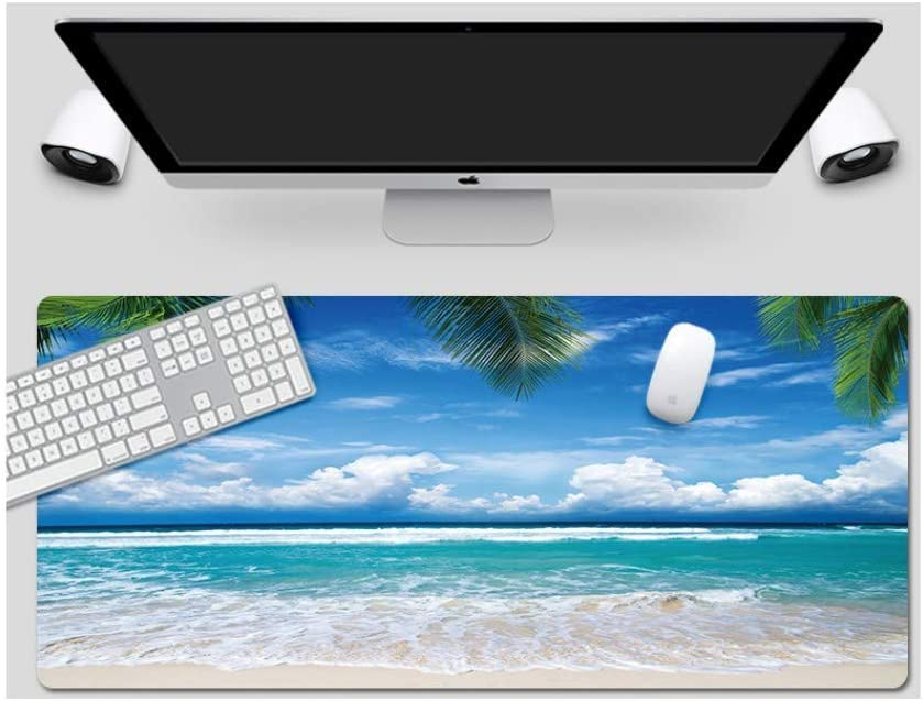 Large Padded Waterproof Non-Slip Keyboard Pad Mouse Pad Beach Style Desk Pad Suitable for Desktop Computer//Notebook,900x400mmx5mm