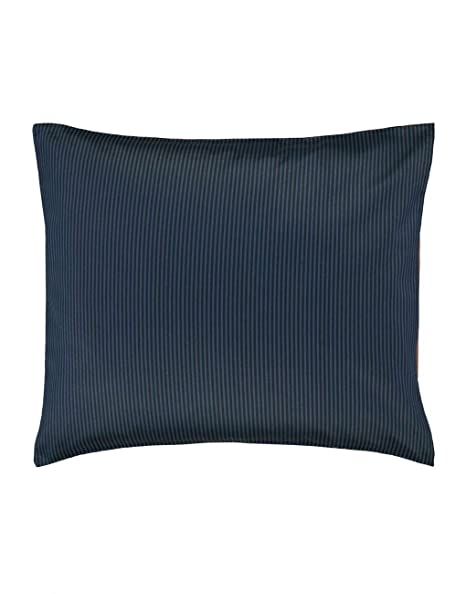 Marc O Polo Bettw/äsche Kissenbezug Classic Stripe l Gr/ö/ße 40x40 cm l Farbe Marine Earthbrown l Reine Baumwolle Satin