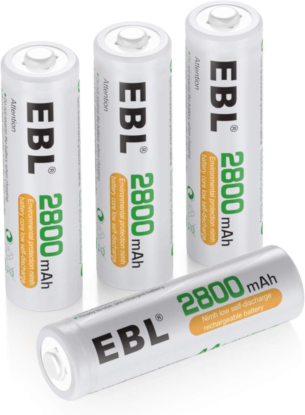 4 Baterias Ebl Recargables AA 2800mAh Ni-MH alto rendimiento