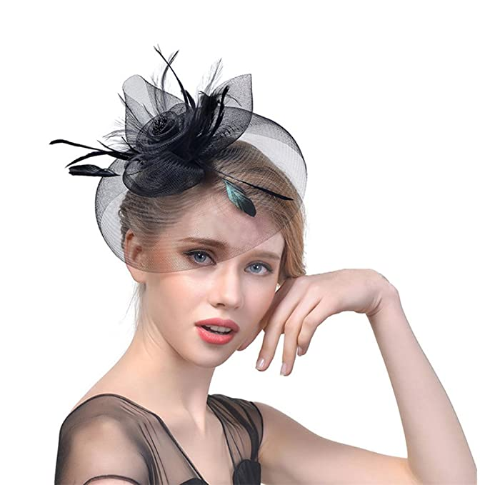a00ea1a30 Ouchver Fascinator Hat Vintage Flower Feather Hair Clip Cocktail ...