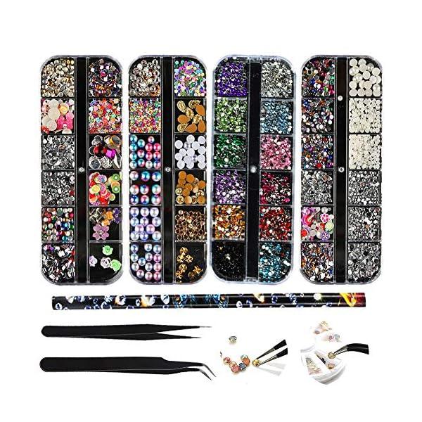 (4 Scatole) Nail Art Strass Kit Nail Art Decorazioni con 2 Pinzetta e Penna di Strass Scelta Nail Rhinestones Cristalli…