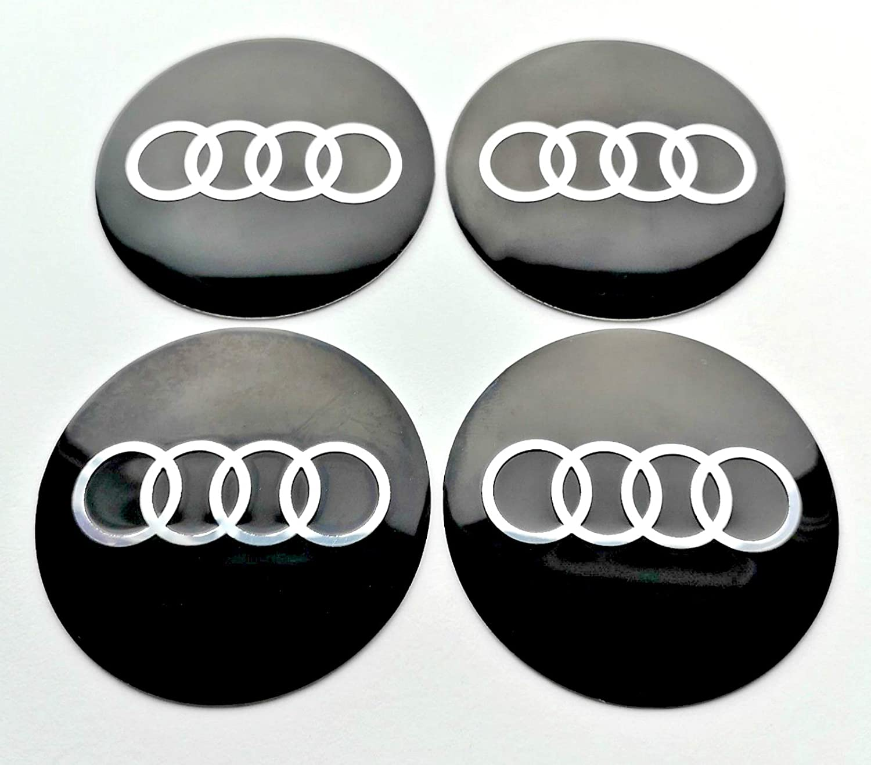 BuyEasyEU 4 x 56 mm Rueda Centro Tapas Pegatinas Emblema Apto para Audi A6 A4 A3 tapacubos Tapas buje: Amazon.es: Coche y moto