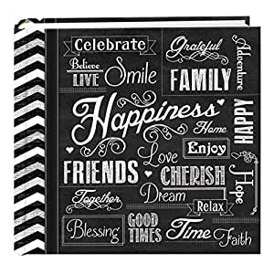 """Pioneer Photo Albums EV-246CHLK/H  200-Pocket Chalkboard Printed """"Happiness"""" Theme Photo Album for 4 by 6-Inch Prints"""