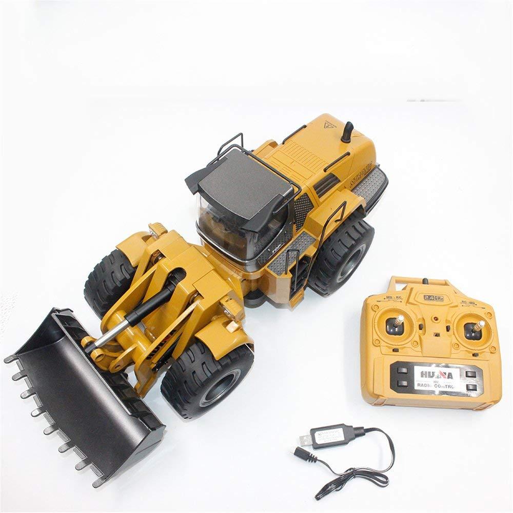 Erduo HUINA Toys 1583 1 14 10CH Alloy RC Bulldozer Camion con Caricatore Frontale Costruzione di Veicoli per Costruzioni Costruzione di Veicoli Giocattolo RTR - Marronee
