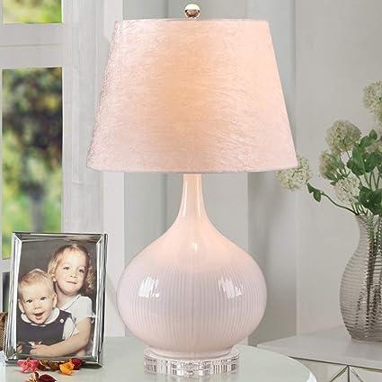 JUNMYEON Lámpara de Mesa de cerámica Blanca con Base de ...