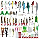 Fishing Lures Kit Set For Bass,Trout,Salmon,Including Spoon Lures ,Soft Plastic worms