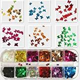 2 Boxes Butterfly Glitter Nail Sequins 24 Colors 3D Confetti Glitter Butterfly for Nail Flakes Stickers DIY Nail Art Eye makeup Sequins