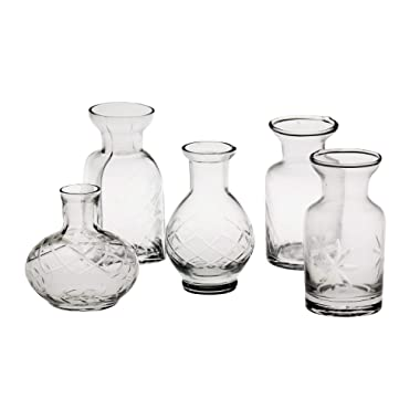 ART & ARTIFACT Set of 5 Petite Glass Bud Vases in Clear or Jewel Tones- Fun Shapes, 2 3/4 -3 3/4  H - Clear