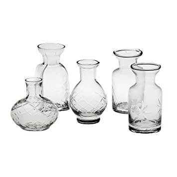 amazon com art artifact set of 5 petite glass bud vases in clear