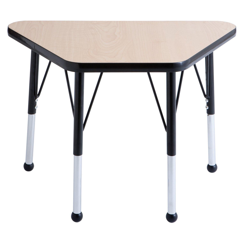 ECR4Kids T-Mold 18'' x 30'' Trapezoid Activity School Table, Standard Legs w/ Swivel Glides, Adjustable Height 19-30 inch (Maple/Black)