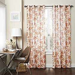 Eclipse 15459052063CNB Wythe 52-Inch by 63-Inch Floral Light Filtering Single Sheer Curtain Panel, Cinnabar