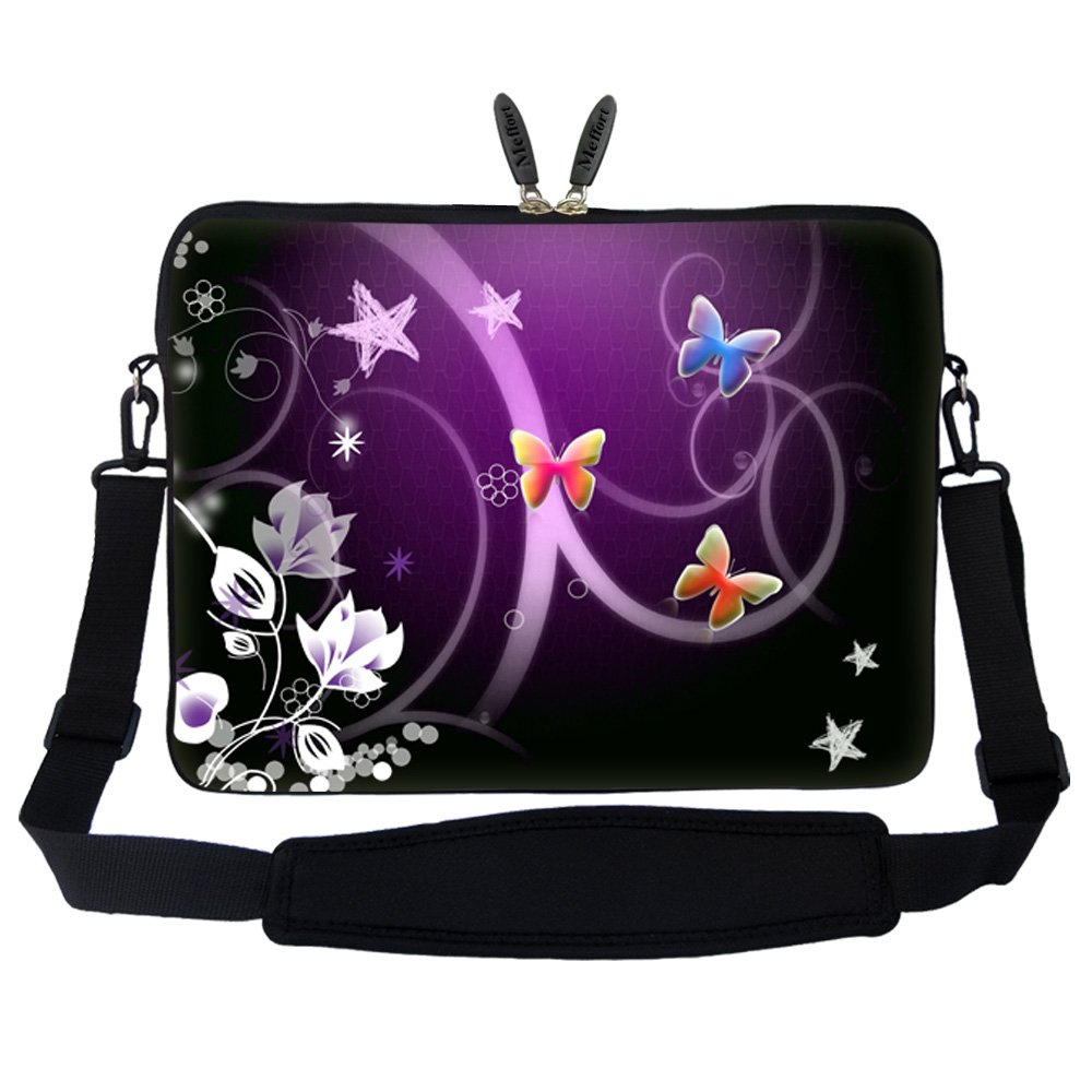 17 17.3 inch Neoprene Laptop Sleeve Bag Carrying Case with Hidden Handle and Adjustable Shoulder Strap - Rainbow Music Note MeeNY