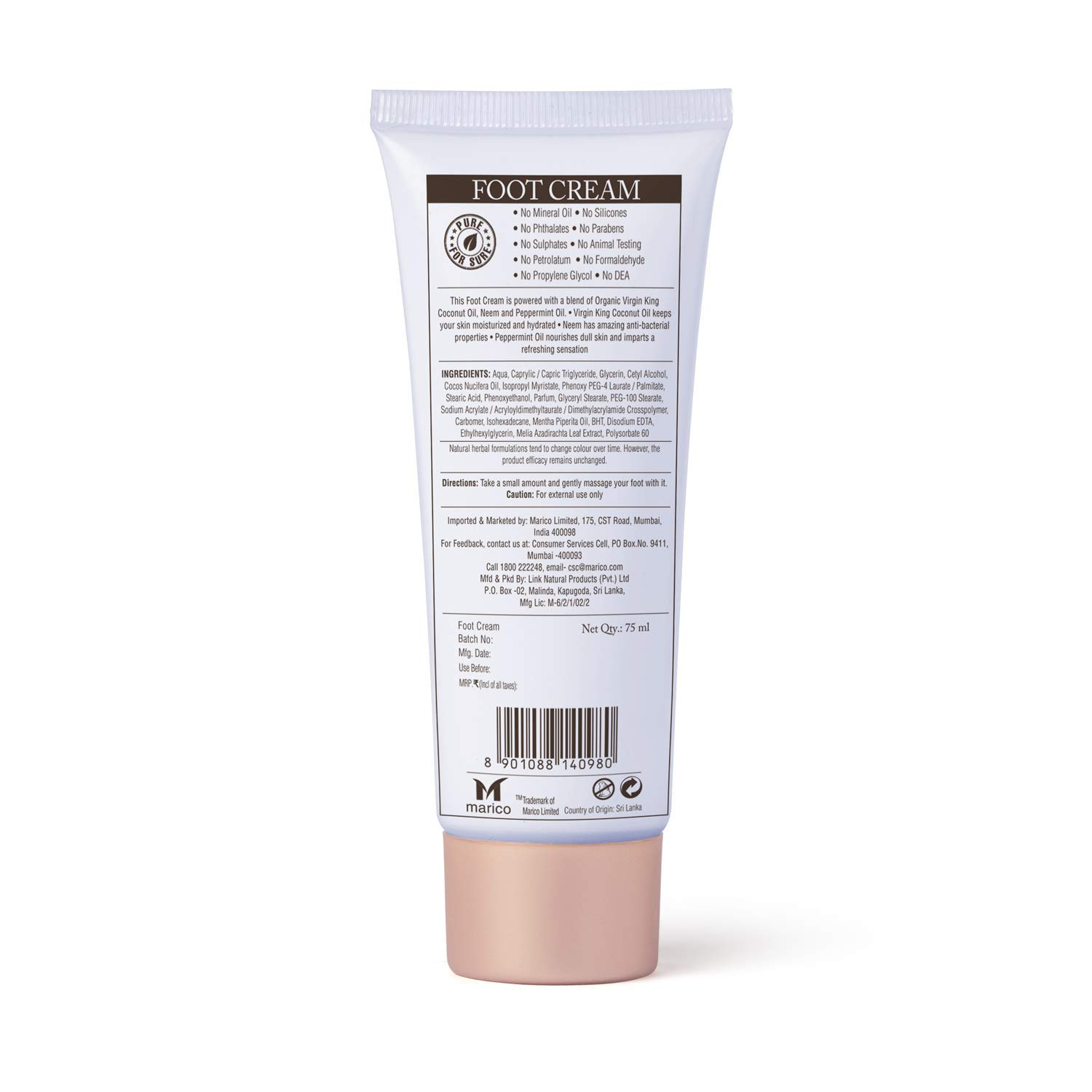 Coco Soul Ayurvedic & Coconut Foot Cream - 2.53 fl.oz. (75ml) - Neem & Peppermint Oil, Virgin King Coconut, Sulphate Free, Petroleum Free, Paraben Free, Silicone Free, Cruelty Free : Beauty