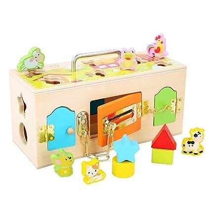 WOQOOK Juego de mesa de madera Montessori con compartimento de ...