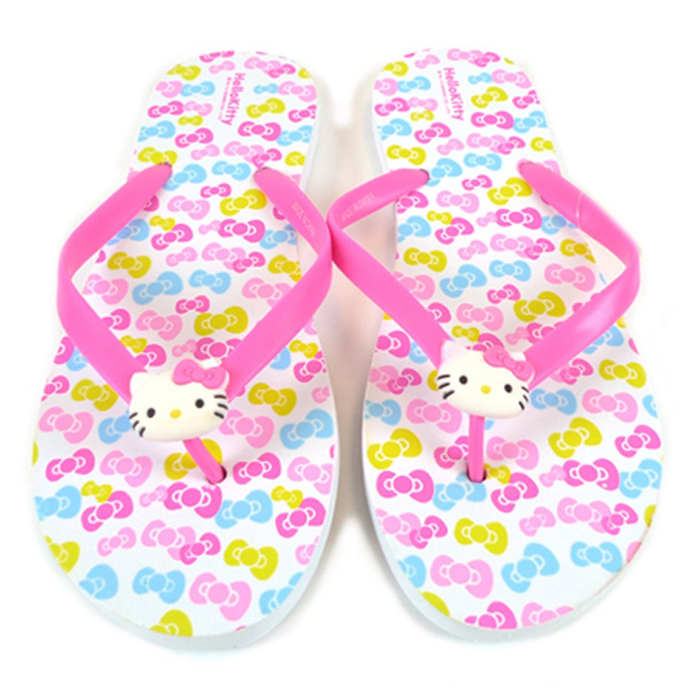 7eba48eb1 Amazon.com | Sanrio Hello Kitty Adult Slippers/Flip Flops: Ribbons One-size  | Shoes