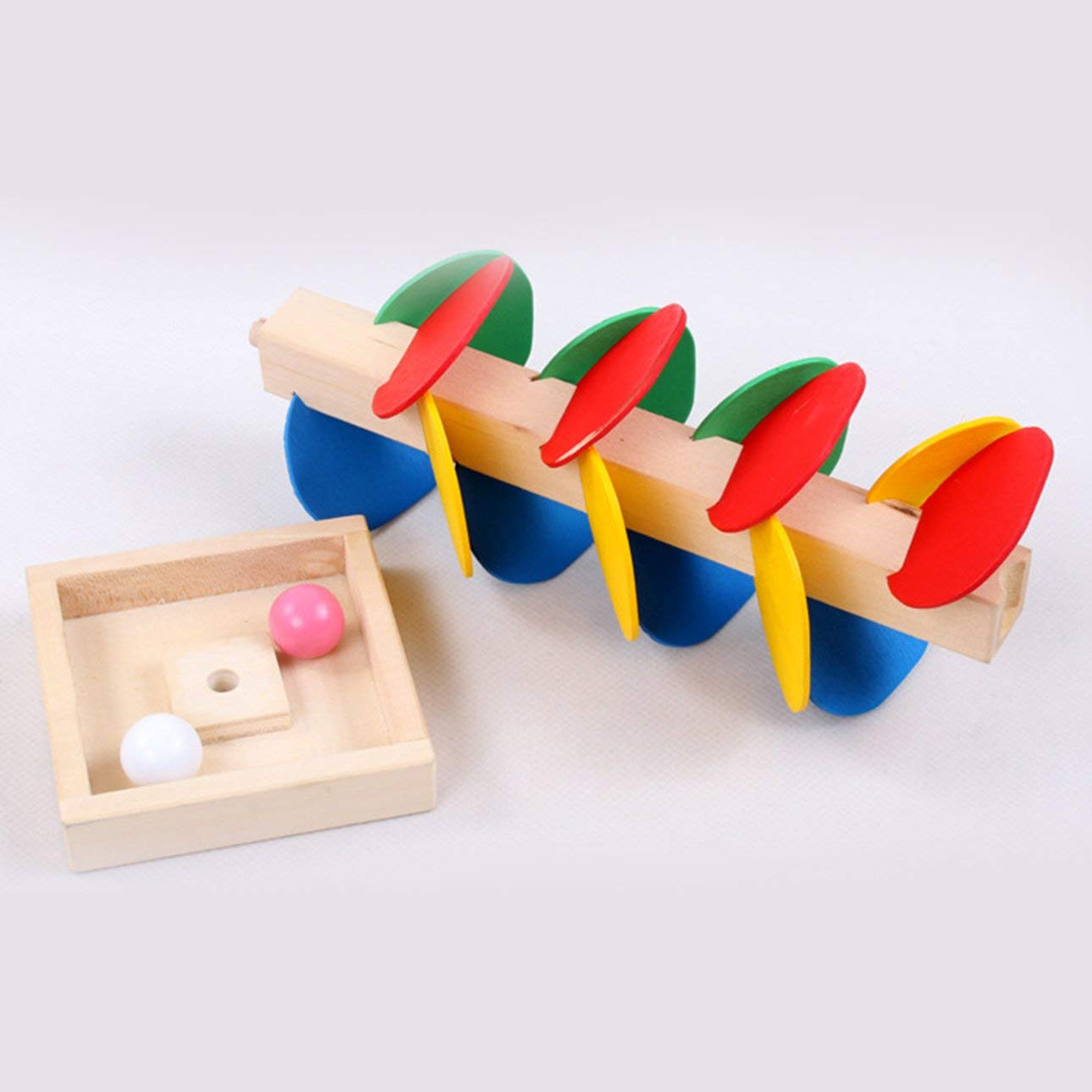 Ballylelly Montessori Juguete Educativo Á rbol de Madera Bola de Má rmol Juego de Atletismo Niñ os Juguete