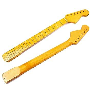 Lorenlli Reemplazo profesional de 22 trastes Diapasón de mástil de arce Adecuado para suministros de música de guitarra eléctrica ST: Amazon.es: ...