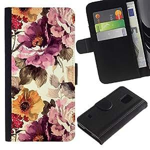 APlus Cases // Samsung Galaxy S5 V SM-G900 // Papel de pared vintage Vignette Sol // Cuero PU Delgado caso Billetera cubierta Shell Armor Funda Case Cover Wallet Credit Card