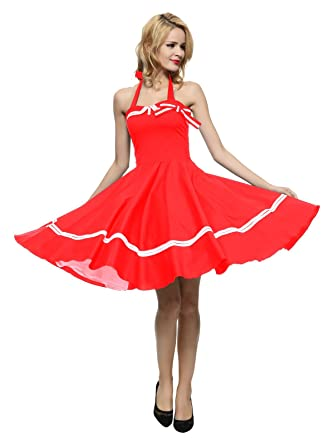 be2f991c73b5 Maggie Tang Women's 1950s Halter Vintage Rockabilly Dress at Amazon Women's  Clothing store: