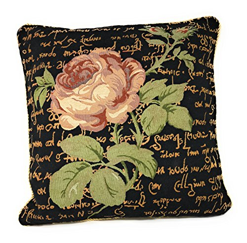 Tache Black Vintage Tapestry Pink Rose Floral Cushion Cover - French Country Rustic Midnight Awakening Decorative Accent Throw Pillow Cover - Set of 2 Piece, 18 x 18 Inches