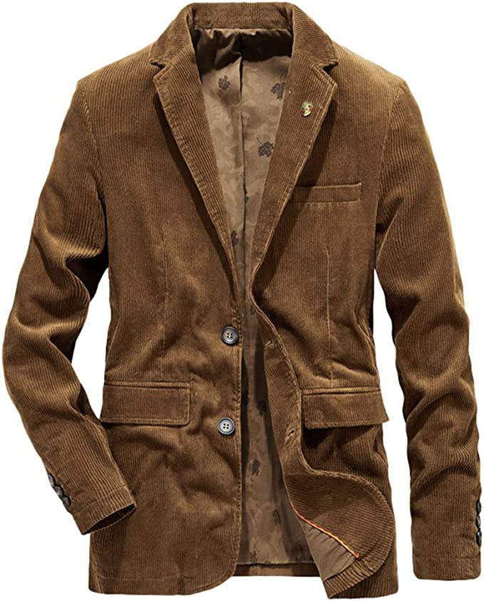 CHARTOU Mens Casual Western-Style Lightweight Slim Two-Buttons Cotton Suit Blazers Jacket