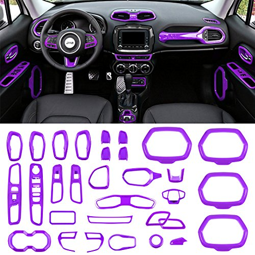Danti Car Interior Accessories Decoration Cover Trim Air Conditioning Vent Decoration & Door Speaker & Water Cup Holder & Window Lift Button Covers for Jeep Renegade 2015-2018 (Purple)