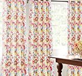 DriftAway Madison Floral Botanic Thermal Room Darkening Grommet Unlined Window Curtains, Set of Two Panels, each size 52″x84″ (Red/Green/Yellow/teal)