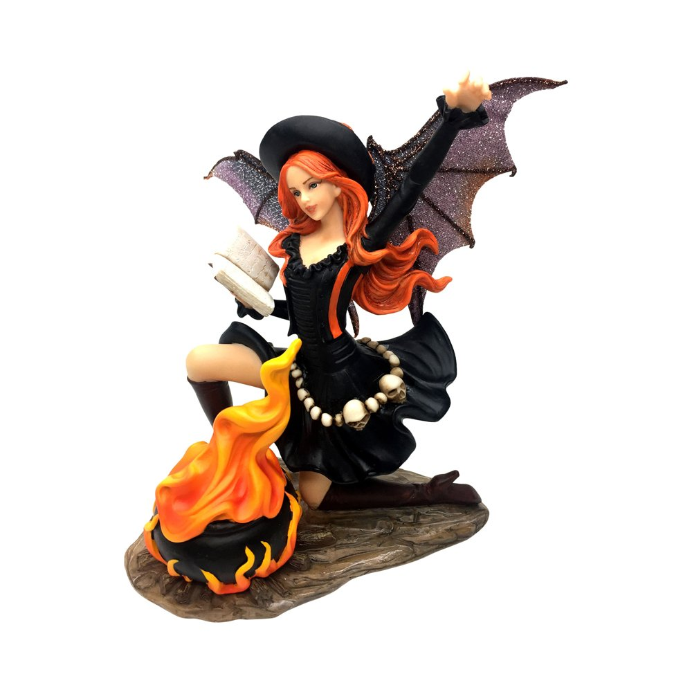 Comfy Hour 7 inch Polyresin Dark Fairy Witch Incanting In Front Of Firepan, Halloween Gift
