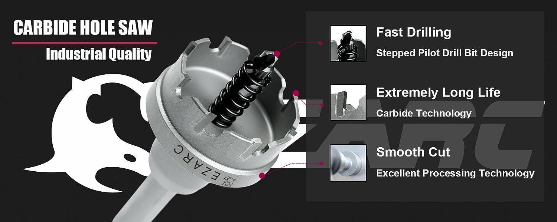 Coronas Perforadoras Grado industrial EZARC Sierra de Corona Broca Circular de Carburo 60mm Perforar en Metal y Inoxidable
