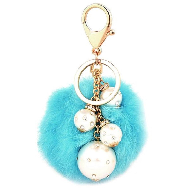 Baost Rabbit Fur Ball Charm Pearl Pendant Key Chain for Car Key Ring or Bag
