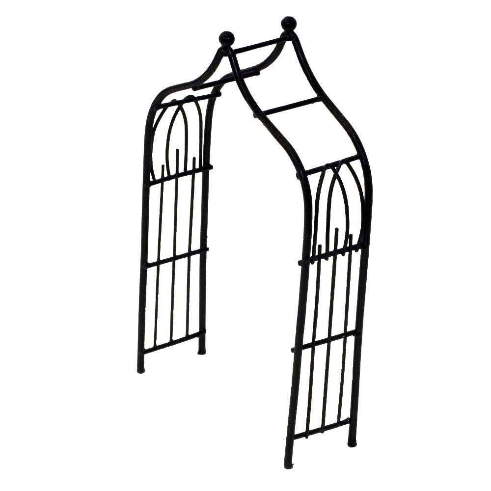 Provence AF3033 Iron Mini Fairy Garden Arbour, Black