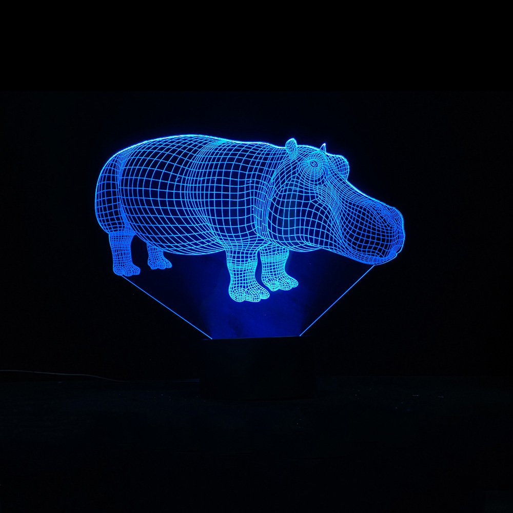 BABYGO 3D Illusion Night Light Animals Hippopotamus Shapes USB Power 7 Colors Change Optical Illusion Led Lamp For Home Decoration Kidroom Children by BABYGO