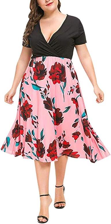 Vestidos Verano Mujer Tallas Grandes Bodas Faldas De Tul Mujer De Fiesta Vestido De Playa Senoras Vestido Maxi Floral Con Cuello En V Para Mujer Tallas Grandes Amazon Es Ropa Y Accesorios