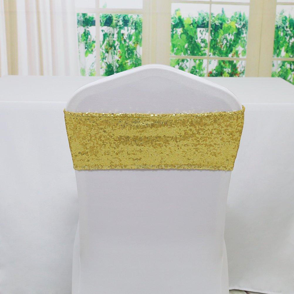 TRLYCスパンデックス椅子スパンコールサッシfor wedding-anyサイズ任意色選択でき 6 by 14inch ゴールド 30 ゴールド B074KYTFPR